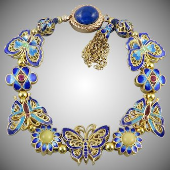 18K Vermeil Enamel Butterfly and Gemstone Charm Bracelet