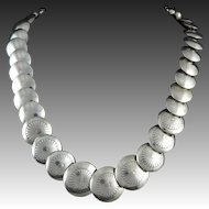"""Southwestern Bench Bead Sterling Silver Necklace 19.5"""" Larger Coin Shaped Beads"""
