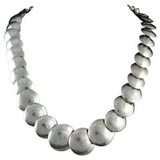 "Southwestern Bench Bead Sterling Silver Necklace 19.5"" Larger Coin Shaped Beads"