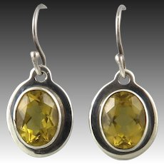 5ctw Citrine and Sterling Silver Dangle Earrings Signed