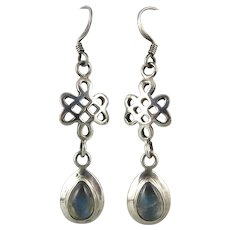 Labradorite Endless Knot and Sterling Silver Dangle Earrings