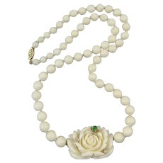 14K Diamond Dewdrop Carved White Coral Rose with Jade and Diamond Bee Necklace 21 Inches
