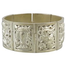 Asian Dragon and Deity Panel Style Sterling Silver Bracelet