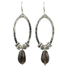 Smoky Quartz and Sterling Silver Earrings Signed