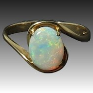 Exceptional Translucent Crystal Opal 14K Ring