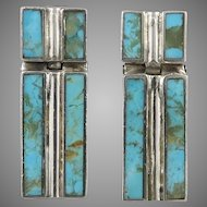 Turquoise and Sterling Silver Door Knocker Earrings