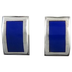 Big Lapis and Sterling Silver Flush Set Curved Earrings