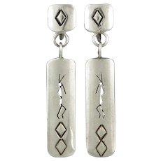 Mid Century Stylized Kokopelli Sterling Silver Dangle Earrings