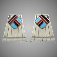 Navajo Sterling Silver and Gemstone Inlay Earrings Signed