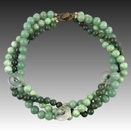 3 Strand Jade Serpentine and Agate Necklace Signed 20 Inches