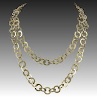Heavy Sterling Silver Vermeil Large Flat Link Necklace 38 Inches