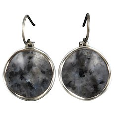 Sterling Silver and Wavy Disk Larvikite Earrings