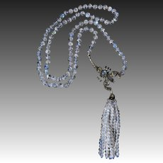 Edwardian Moonstone Scorpion Tassel Necklace 30 Inches