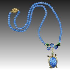 Chinese Enameled and Articulated Gilded Silver Turtle and Natural Chalcedony Bead Necklace 19 Inches