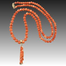 14K Chinese Salmon Momo Coral Beads and Carved Kwan Yin Pendant 26 Inches
