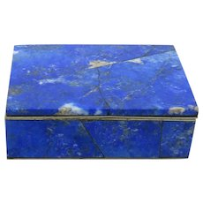 Carved Lapis Hinged Trinket Box