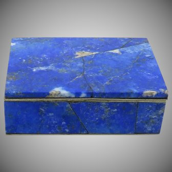 Carved Lapis Hinged Trinket Box