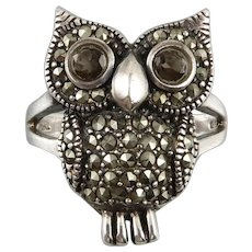 Sterling Silver Smoky Quartz and Marcasite Owl Ring
