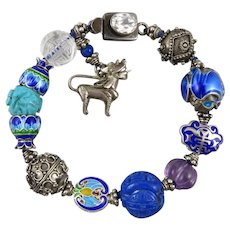 Sterling Silver Fine Enamel and Gemstone Bead Foo Dog Charm Bracelet
