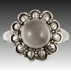 Cat's Eye Moonstone and Sterling Silver Flower Ring