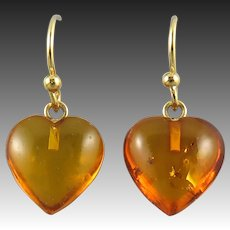 Carved Baltic Amber Heart Earrings 14K GF Wires