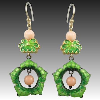 Chinese Gilded Silver Enamel and Coral Earrings