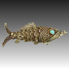 Chinese Gilded Silver Filigree and Turquoise Fish Vinaigrette Pendant
