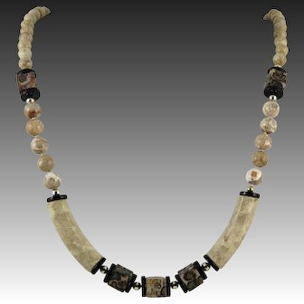 Riverstone Jasper and Onyx Geometric Bead Necklace 31 Inches