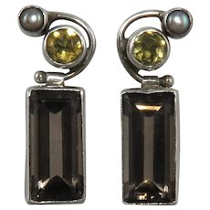 Smoky Quartz Citrine and Cultured Pearl Hinged Dangle Sterling Silver Earrings