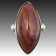 Mid Century Scottish Agate and Sterling Silver Ring