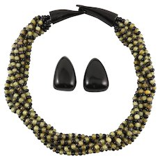 Gerda Lynggaard Monies Carved Horn Earrings and 5 Strand Necklace Set