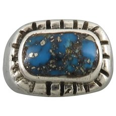 Old Pawn Morenci Turquoise Sandcast Sterling Silver Handmade Ring