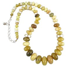 Golden Yellow Opal Large Bead Sterling Silver Necklace 23.5 Inches