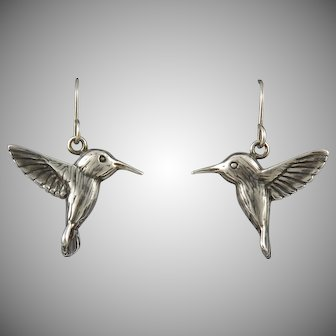 Sterling Silver Realistic Hummingbird Dangle Earrings