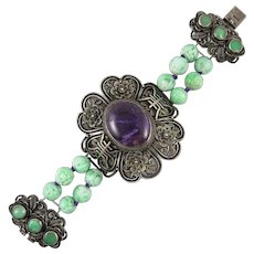Chinese Carved Jade and Amethyst Silver Bracelet Jade