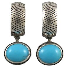 Sterling Silver and Turquoise Reversible Earrings