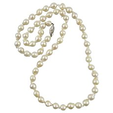 Baroque Akoya Cultured Pearl Necklace 28 Inches