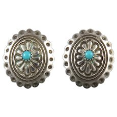Sterling Silver and Turquoise Elaborate Concho Earrings