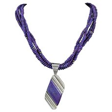Purple Mojave Turquoise 3 Strand Sterling Silver Pendant Necklace 24 Inches