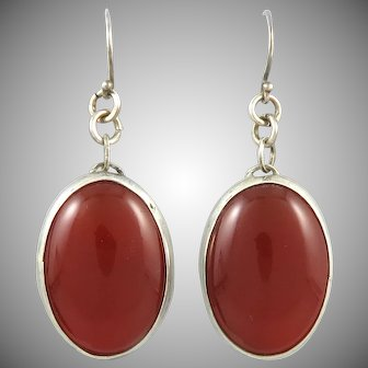 Big Red Carnelian Dangle Style Sterling Silver Earrings