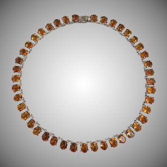 Victorian Madeira Citrine Sterling Silver Collet Necklace 64ctw.