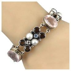 Large Multi Jeweled Sterling Silver Bracelet By Nicky Butler Blue and White Topaz   Rose Quartz   Smoky Quartz