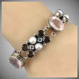 Large Multi Jeweled Sterling Silver Bracelet By Nicky Butler Blue and White Topaz | Rose Quartz | Smoky Quartz