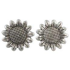 Big Sterling Silver Sunflower Earrings