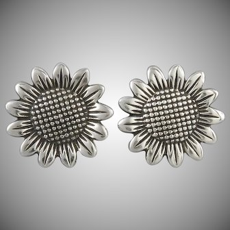 Big Sterling Silver Sunflower Earrings
