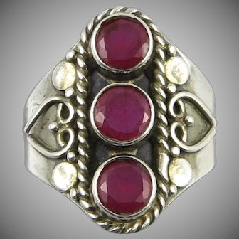 Ruby and Sterling Silver Ring