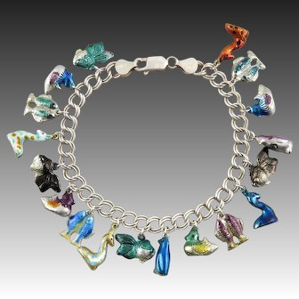 Whimsical Chinese Enameled Charm and Sterling Silver Bracelet