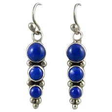 Long Lapis and Sterling Silver Triple Circle Dangle Earrings