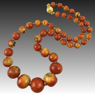 Beautiful Apple Coral Graduated Bead Necklace