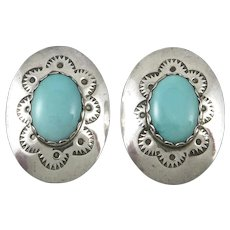Navajo Turquoise and Sterling Silver Concho Style Earrings Signed